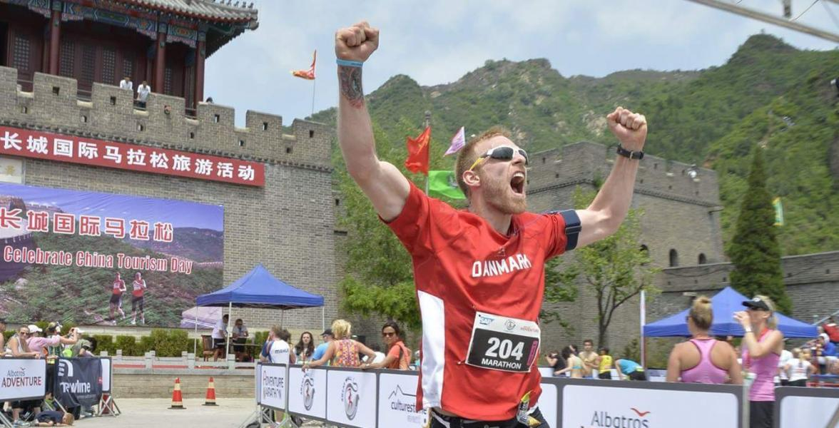 Andreas after completing the Great Wall Marathon in 2014