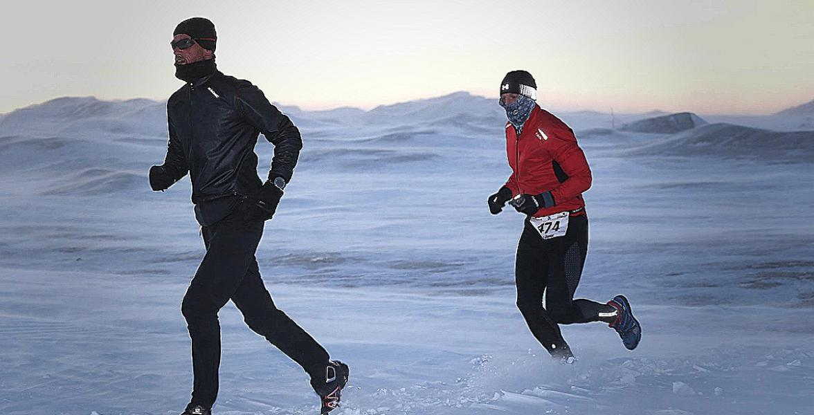 Andreas taking on the Polar Bear Challenge in Greenland in 2015