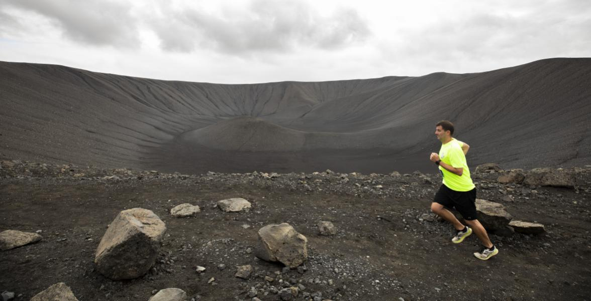 Bo testing the route for the Iceland Volcano Marathon
