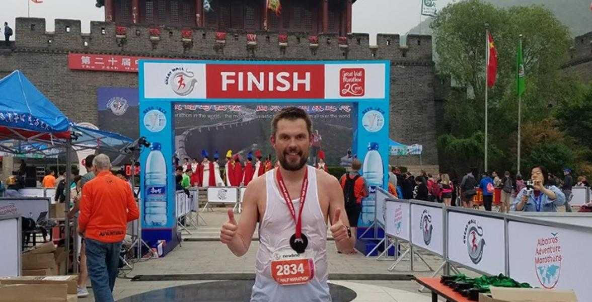 Søren winning the Great Wall Half Marathon 2019